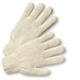 West Chester Light Weight Poly/Cotton String Knit Work Glove - Pair of two light gray knit safety work gloves with fabric elastic fit wrists.