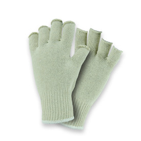 West Chester Premium Fingerless 7 Cut Poly/Cotton String Knit Glove - Pair of two fingerless light gray safety knit work gloves with fabric elastic fit wrists.