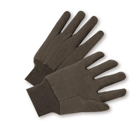 West Chester Soft Brown Cotton Knit Wrist Jersey Gloves - Pair of two soft black safety work gloves with fabric elastic wrists.