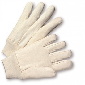 West Chester 12 oz Poly/Cotton Knit Wrist Glove - White cloth glove with elastic cuffs.