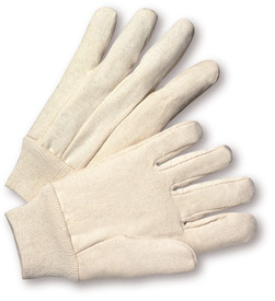 West Chester Knit Wrist Lightweight Poly/Cotton Canvas Glove - Pair of two gray reversible safety work gloves with fabric elastic wrists.