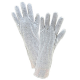 West Chester Long 14 Inch 100% Cotton Lisle Gloves - Pair of two easy fit cotton white safety work gloves.