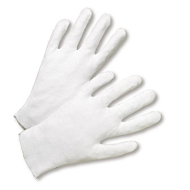 West Chester Heavy 100% Cotton Lisle Gloves - Pair of two easy fit light gray cotton safety work gloves.