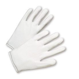 West Chester Form Fit Nylon White Gove - White form fit nylon safety work gloves with black threading.