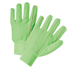 West Chester Hi-Viz Green Mid-Weight Corded Double Palm Gloves - Yellow, orange, and green high visibility safety work gloves with fabric elastic wrists.