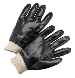 West Chester Fully Coated Black PVC Chemical Resistant Work Glove - Pair of two black coated safety work gloves with elastic fit gray wrist.