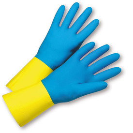 West Chester Premium Blue/Yellow Flock Lined Neoprene Over Latex Gloves - Pair of two full light blue safety work gloves with long yellow wrist coverage.