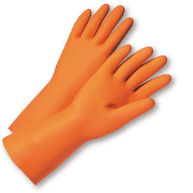 West Chester Orange Latex Flock Lined Premium 13 Inch Gloves - Pair of two full orange safety work gloves with long wrist coverage.