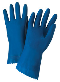 West Chester Blue Unlined & Unsupported Latex Economy Gloves - Pair of two full dark blue safety work gloves with long wrist coverage.