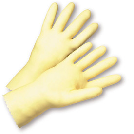 West Chester Premium Amber Unlined & Unsupported Latex Gloves - Pair of two full light tan safety work gloves with long wrist coverage.