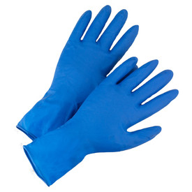 West Chester Disposable 14 Mil Powder Free High Risk Exam Latex Gloves - Box of fifty blue latex ambidextrous examination disposable safety gloves.