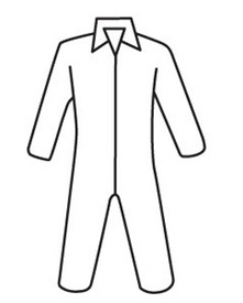 West Chester Microporous Zipper Front Coverall - Diagram of front zippered collared safety coverall with loose wrists and ankles.