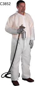 West Chester White SMS Zipper Elastic Wrists Coverall - Man Wearing White safety front zippered coverall with collar and elastic wrists and ankles.