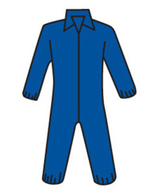 West Chester Navy Heavyweight Elastic Wrist Coverall - Blue front zippered safety coverall with collar and elastic wrists and ankles.