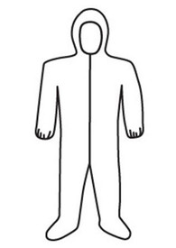 West Chester Navy Heavyweight Elastic Ankles Coverall - White front zippered safety coverall with attached hood and elastic wrists.