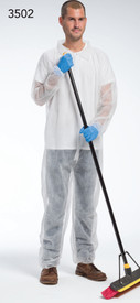 West Chester White Lightweight Elastic Wrist Coverall - Man wearing Lightweight white front zippered safety coverall with collar and elastic wrists and ankles.