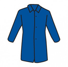 West Chester Blue Lightweight Lab Coat - Drawing showing basic lab coat shape with collar, long sleeves, three buttons and long waist.