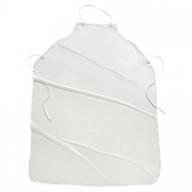West Chester Sewn Edge Vinyl Protective Aprons - White vinyl apron with neck strap and tie back strings.