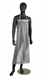 West Chester Raw Edge Vinyl Protective Aprons - Illustration of a clear vinyl apron from armpits to shins with a white strap around the neck, on a black manikin.