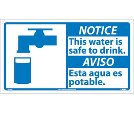 """Notice This Water Is Safe To Drink Graphic Bilingual Sign - Aris Industrial White square English and Spanish sign with the words """"NOTICE THIS WATER IS SAFE TO DRINK"""" In black text. Blue notice background. Water tap over glass graphic next to text."""