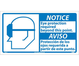 """Notice Eye Protection Required Graphic Bilingual Sign - Aris Industrial White square English and Spanish sign with  the  words """"NOTICE EYE PROTECTION REQUIRED BEYOND THIS POINT"""" In black text. Blue notice background. Man wearing glasses graphic next to text."""