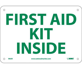 "First Aid Kit Inside 7x10 Sign - Aris Industrial White rectangular shape square sign with the words ""FIRST AID KIT INSIDE"" in green text with four holes for post mounting."