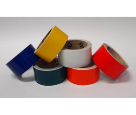 1 Inch X 10 Yards Reflective Tape - Aris Industrial Six rolls of reflective tape laying next to each other. Colors are Blue, green, orange, red, yellow and white.