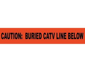 """Caution Non-Detectable Buried Catv Line Below Warning Tape - Aris Industrial Detectable Underground Tape with the words """"CAUTION: BURIED CATV BELOW"""" in black text and red background."""