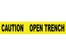 """Caution Open Trench 3 Inch Printed Barricade Tape - Aris Industrial Barricade Tape with the words """"CAUTION OPEN TRENCH"""" with yellow background and black text."""
