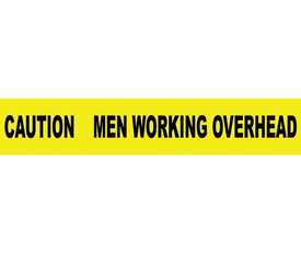 """Caution Barricade Tape Men Working Overhead - Aris Industrial Barricade Tape with the words """"CAUTION MEN WORKING OVERHEAD"""" on yellow background and black text."""