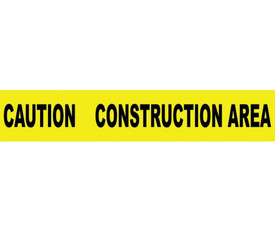 """Caution Construction Area 3 Inch Printed Barricade Tape - Aris Industrial Barricade Tape with the words """"CAUTION CONSTRUCTION AREA"""" on yellow background in black text."""