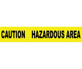 """Caution Hazardous Area 3 Inch Barricade Tape - Aris Industrial Barricade Tape with the words """"CAUTION HAZARDOUS AREA"""" on yellow background in black text."""