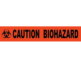 """Caution Biohazard Printed 3 Inch Barricade Tape - Aris Industrial Barricade Tape with the words """"CAUTION BIOHAZARD"""" on red background in black text."""