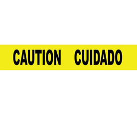 """Bilingual Caution Cuidado Printed Barricade Tape - Aris Industrial Barricade Tape with the words """"CAUTION CUIDADO"""" on yellow background in black text."""