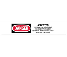 """OSHA Danger Asbestos May Cause Cancer Printed Barricade Tape - Aris Industrial White barricade tape with the words """"DANGER ASBESTOS CANCER AND LUNG DISEASE HAZARD AUTHORIZED PERSONNEL ONLY RESPIRATORS AND PROTECTIVE CLOTHING ARE REQUIRED IN THIS AREA"""" in black text with circular red background behind danger."""