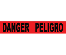 """Spanish Danger Printed Barricade 3 Inch Tape - Aris Industrial Barricade Tape with the words """"DANGER PELIGRO"""" on red background in black text."""