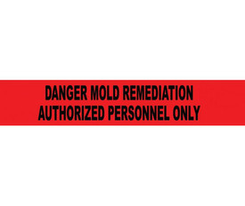 """Danger Mold Remediation 3 Inch Barrier Tape - Aris Industrial Barricade Tape with the words """"DANGER MOLD REMEDIATION AUTHORIZED PERSONNEL ONLY"""" on red background in black text."""