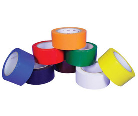 Yellow Warning Safety Tape - Aris Industrial 2 inch UV backlight reactive fluorescent utility floor tape. Colors are light blue, dark blue, red, orange, green, yellow, white and black.