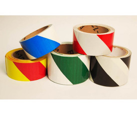 Black & Yellow Slanted Striped Safety Floor Hazard Tape - Aris Industrial rolls of striped safety tape. Rolls are blue/white, green/white, red/white, black/white and red/yellow colors.