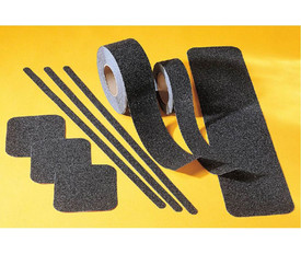 Anti Skid Heavy Duty Slip Avoidance Black Floor Tape - Aris Industrial Set of  black grit anti-slip floor tapes in a variety of shapes and sizes in yellow background.