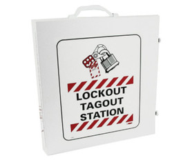 Lockout Tagout Station With Supplies - Aris Industrial White Lockout Tagout Station Metal Box