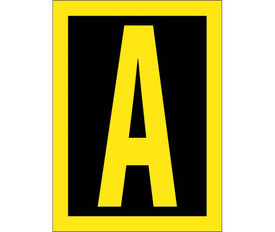 Vinyl Reflective Hi Viz A to Z Letters - Aris Industrial Yellow Capital Letter A. Yellow reflective Letter on Black Background and outer edge trimmed in reflective yellow