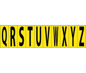 Self Adhesive Letters 2 Inch A to Z - Aris Industrial Black on Yellow self adhesive Q to Z letters