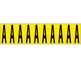 2 Inch Self Adhesive Single Letters A to Z - Aris Industrial Black on Yellow self adhesive 2 Inch Letter Capital A and 10 Letter A's on a card