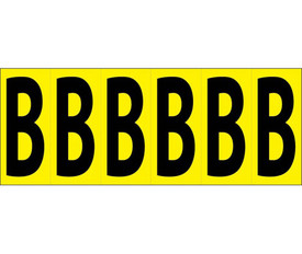 3 Inch Self Adhesive Single Letters A to Z - Aris Industrial Black on Yellow self adhesive 3 Inch Letter Capital B and 6 Letter B's on a card