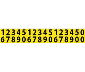 Small Self Adhesive Numbers 0 to 9 - Aris Industrial Black on Yellow self adhesive 5/8 Inch 0 to 9 Numbers and 32 Numbers on a card