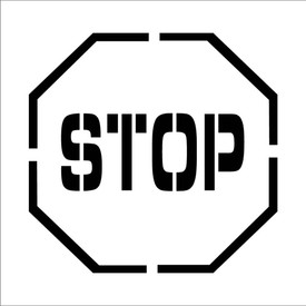 """Stop Symbol Marking Stencil - Aris Industrial Octagon Stop sign stencil with the words """"STOP"""""""