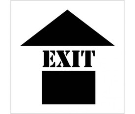 Exit with Up Arrow Marking Stencil