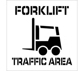 """Forklift Traffic Area Marking Stencil - Aris Industrial stencil with the words """"FORKLIFT TRAFFIC AREA"""" and a picture of a forklift."""