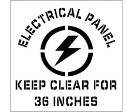 """Electrical Panel Keep Clear Marking Stencil - Aris Industrial stencil with the words """"ELECTRICAL PANNEL KEEP CLEAR FOR 36 INCHES"""" surrounding a lightening bolt."""